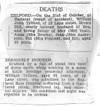 1944 Telford Newspaper Death notice Newspaper Death notice